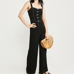 NWT Abercrombie & Fitch button-up jumpsuit black
